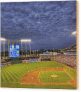 Kauffman Stadium Twilight Wood Print