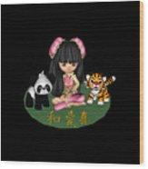 Kawaii China Doll Friends Panda And Tiger Wood Print