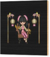 Kawaii China Doll Scene Wood Print