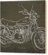 Kawasaki Motorcycle Blueprint, Mid Century Brown Art Print Wood Print