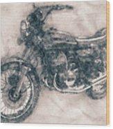 Kawasaki Triple - Kawasaki Motorcycles - 1968 - Motorcycle Poster - Automotive Art Wood Print