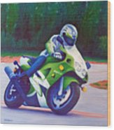 Kawasaki Zx7 - In The Groove  Wood Print