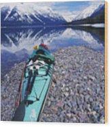 Kayak Ashore Wood Print