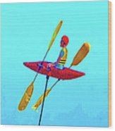 Kayak Guy On A Stick Wood Print