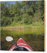 Kayak On A Forested Lake Wood Print