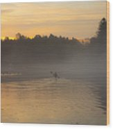 Kayak On The River At Dawn Wood Print