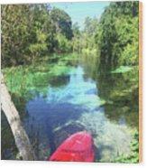 Kayak On Weeki Wachee Springs Wood Print