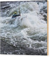 Kayak Roll Up In Pipeline Rapids 5959 Wood Print