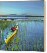 Kayak Sunrise Wood Print