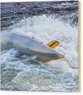 Kayaker Goes Over In Pipeline Rapids 5965ct Wood Print