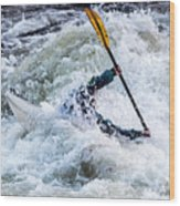 Kayaker In Action At Pipeline Rapids In James River 5956c Wood Print