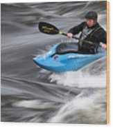 Kayaker Riding The Flow Of The Shannon River Limerick Ireland Wood Print