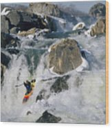 Kayaker Running Great Falls Wood Print
