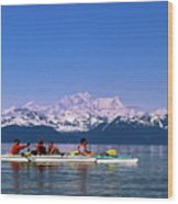 Kayakers In Alaska Wood Print