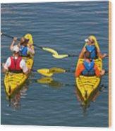Kayakers In Bar Harbor Maine Wood Print