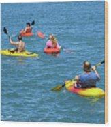 Kayaking Friends Wood Print