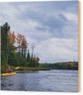 Kayaking In Autumn Wood Print