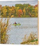Kayaking In Fall Wood Print