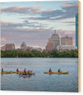 Kayaking On The Charles Wood Print