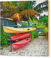 Kayaks In Paradise Wood Print