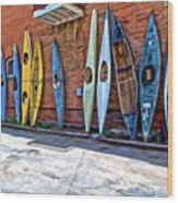 Kayaks On A Wall  Wood Print