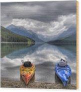 Kayaks On Bowman Lake Wood Print by Donna Caplinger