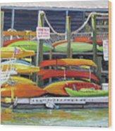 Kayaks Stacked On Shem Creek Wood Print