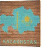 Kazakhstan Rustic Map On Wood Wood Print