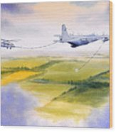 Kc-130 Tanker Aircraft Refueling Pave Hawk Wood Print
