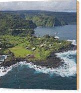 Keanae Peninsula Aerial Wood Print