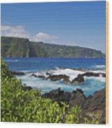 Keanae Peninsula, View Wood Print