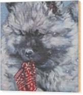 Keeshond Puppy With Christmas Stocking Wood Print