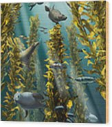 Kelp Forest With Seals Wood Print
