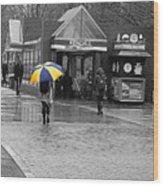 Kendall Square Rainy Day Cambridge Ma Blue And Yellow Wood Print