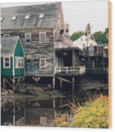 Kennebunkport At Low Tide Wood Print
