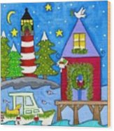 Kennebunkport Holiday Arrival Wood Print