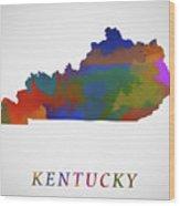 Kentucky Map Wood Print