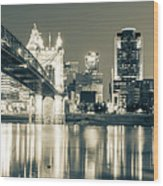 Kentucky View Of The Cincinnati Ohio Skyline - Sepia Panorama Wood Print