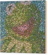 Kermit Mt. Dew Bottle Cap Mosaic Wood Print by Paul Van Scott