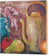 Kettle And Fruit Wood Print