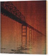 Key Bridge Artistic  In Baltimore Maryland Wood Print by Skip Willits