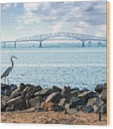 Key Bridge From Ft Smallwood Pk Wood Print