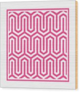 Key Maze With Border In French Pink Wood Print