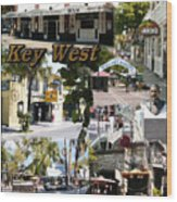 Key West Collage Wood Print