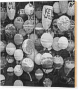 Key West Lobster Buoys Black And White Wood Print