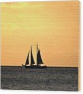 Key West Sunset Sail Wood Print