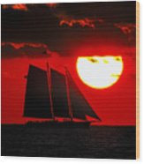 Key West Sunset Sail Silhouette Wood Print