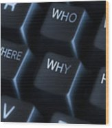 Keyboard With Question Labels Wood Print by Blink Images