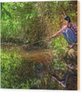 Khmer Woman Fishing - Cambodia Wood Print