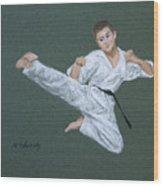 Kick Fighter Wood Print